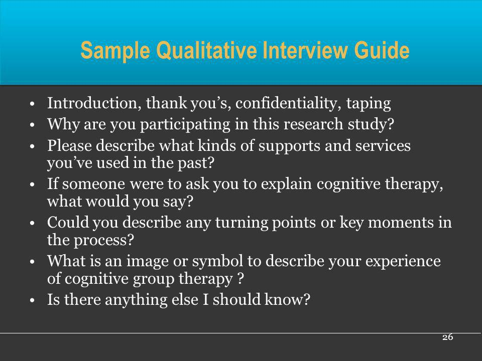 Sample Qualitative Interview Guide