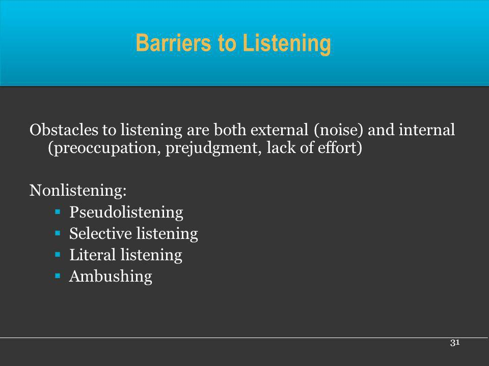 Barriers to Listening Obstacles to listening are both external (noise) and internal (preoccupation, prejudgment, lack of effort)