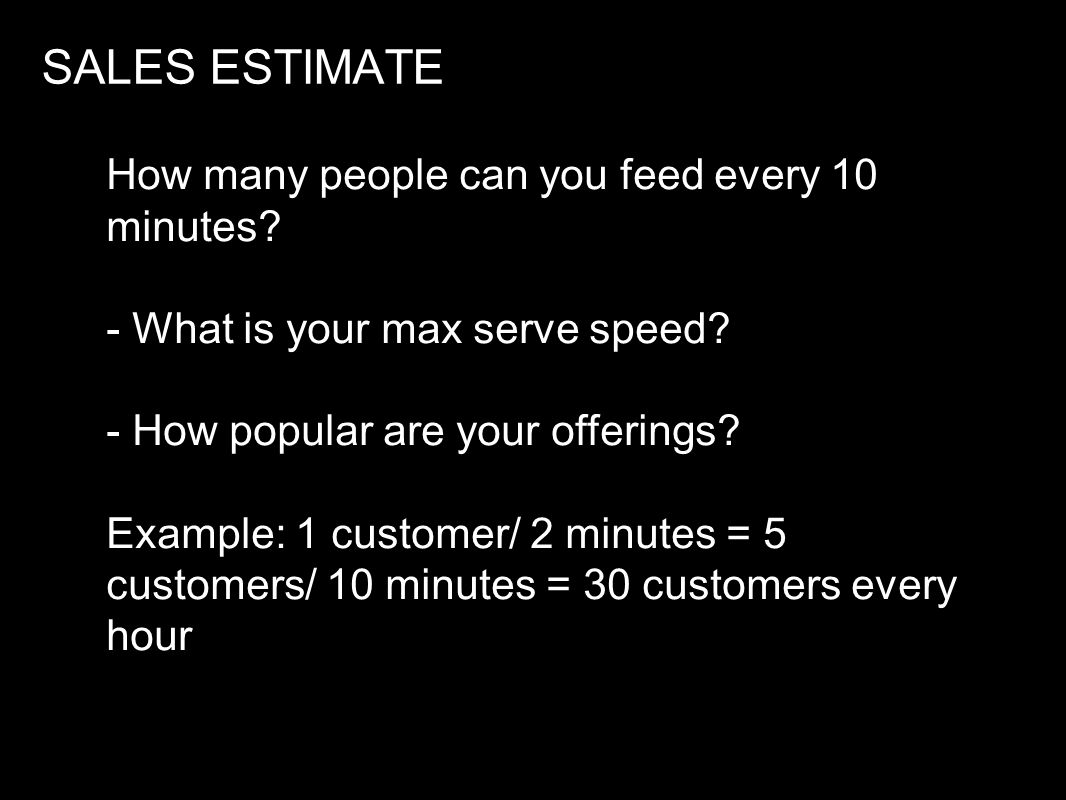 SALES ESTIMATE How many people can you feed every 10 minutes