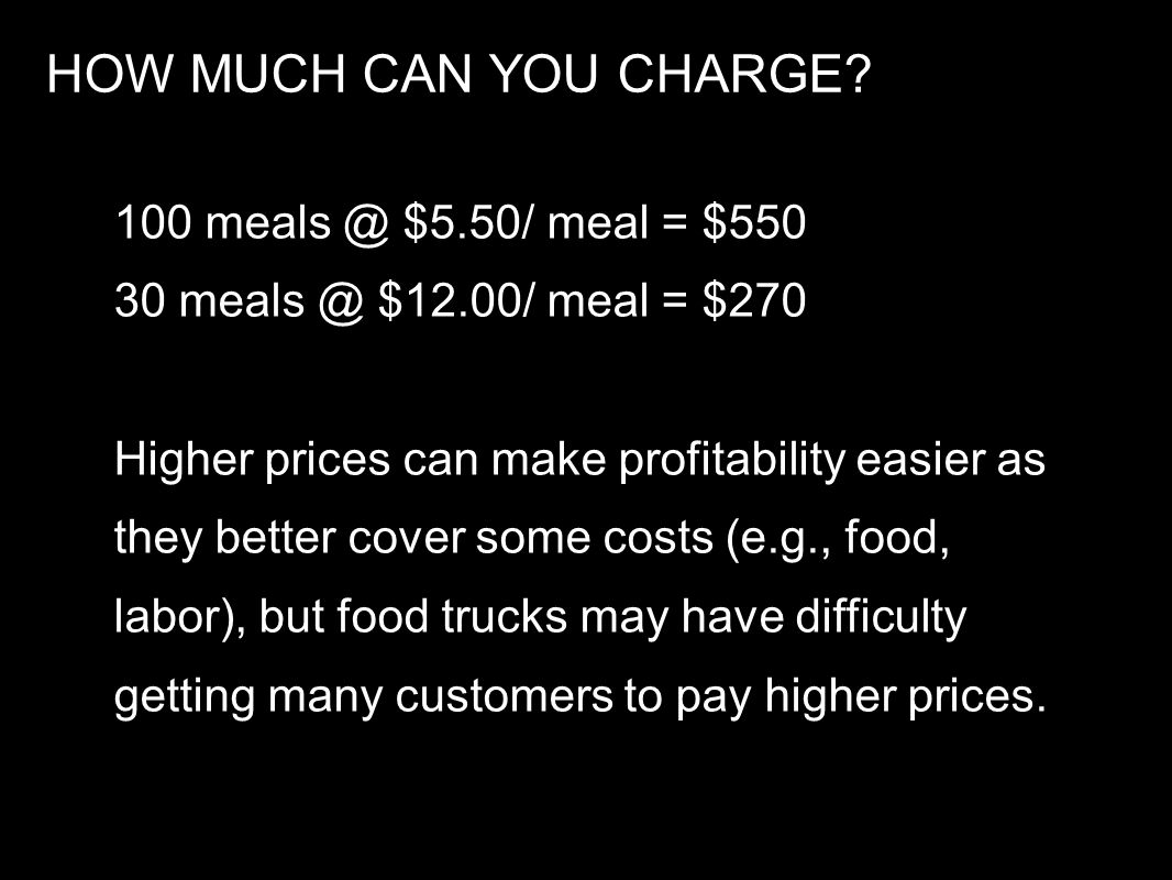 HOW MUCH CAN YOU CHARGE 100 meals @ $5.50/ meal = $550