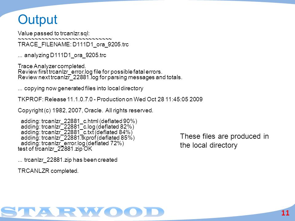 Output These files are produced in the local directory