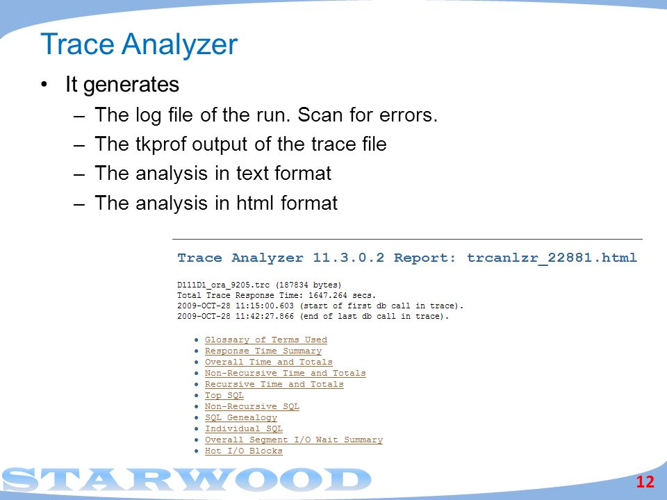 Trace Analyzer It generates The log file of the run. Scan for errors.
