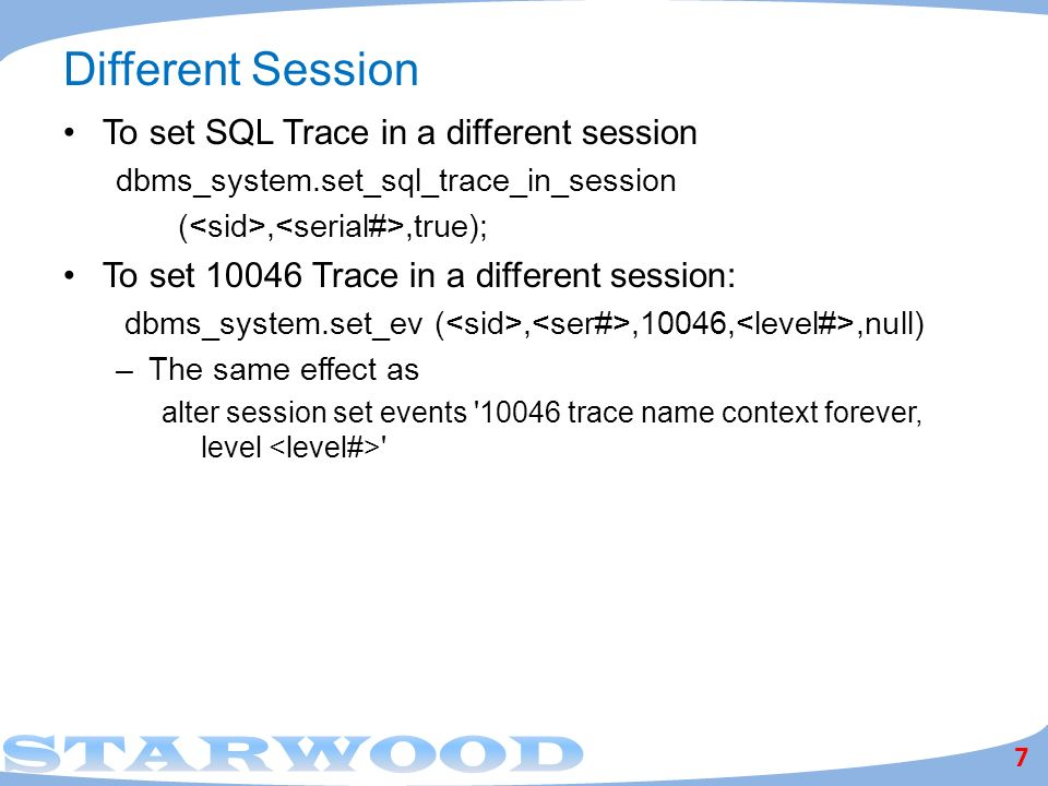 Different Session To set SQL Trace in a different session