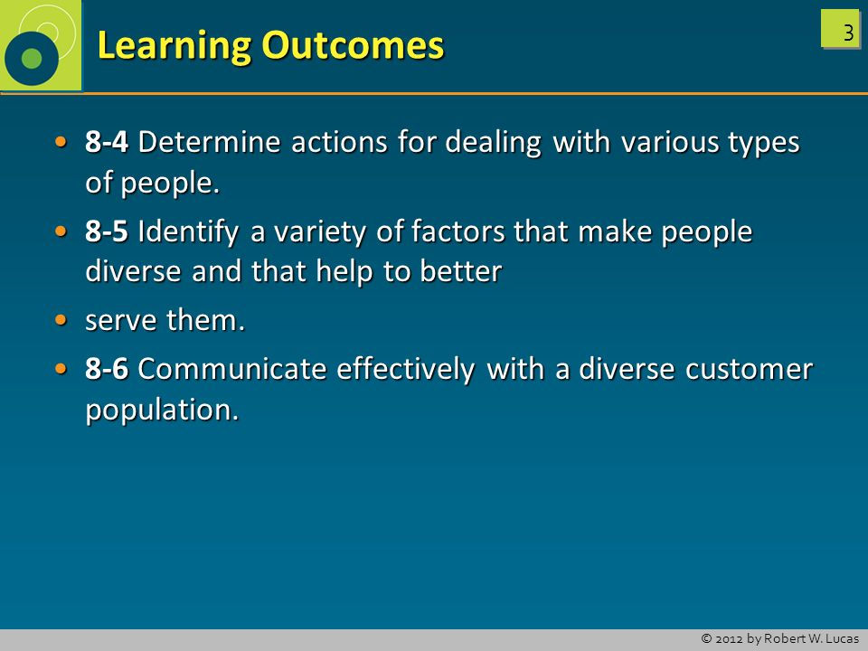Learning Outcomes 8-4 Determine actions for dealing with various types of people.