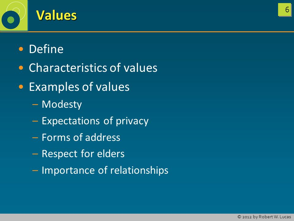 Values Define Characteristics of values Examples of values Modesty