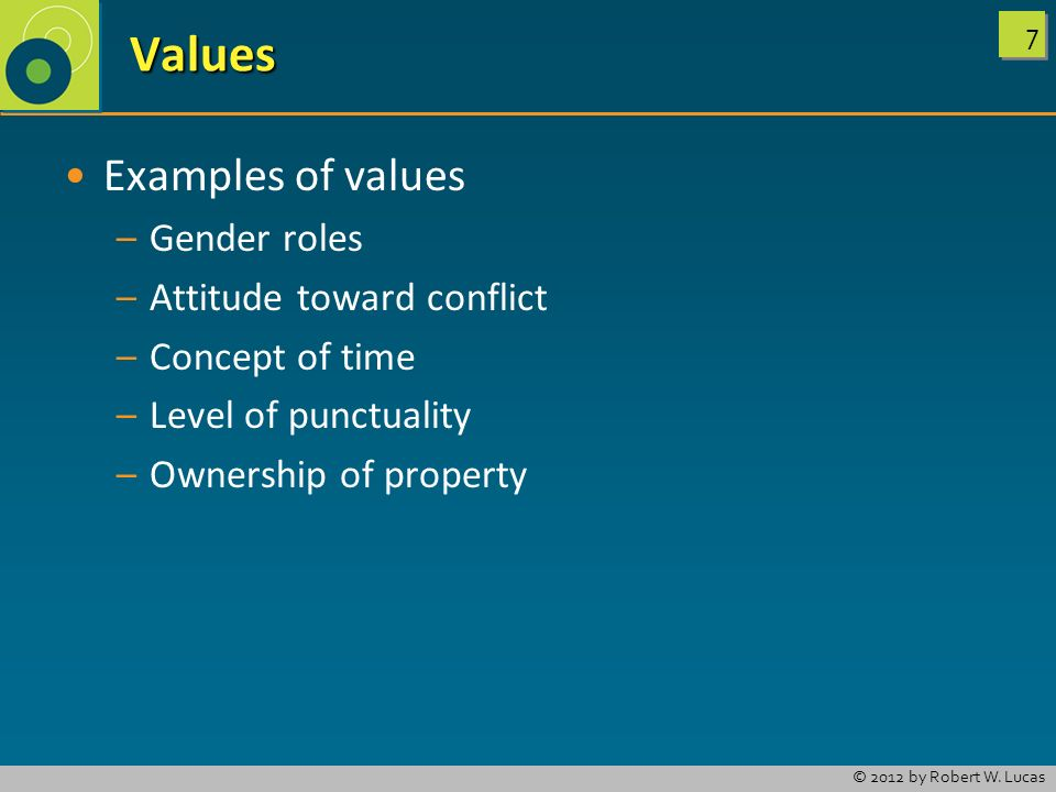 Values Examples of values Gender roles Attitude toward conflict