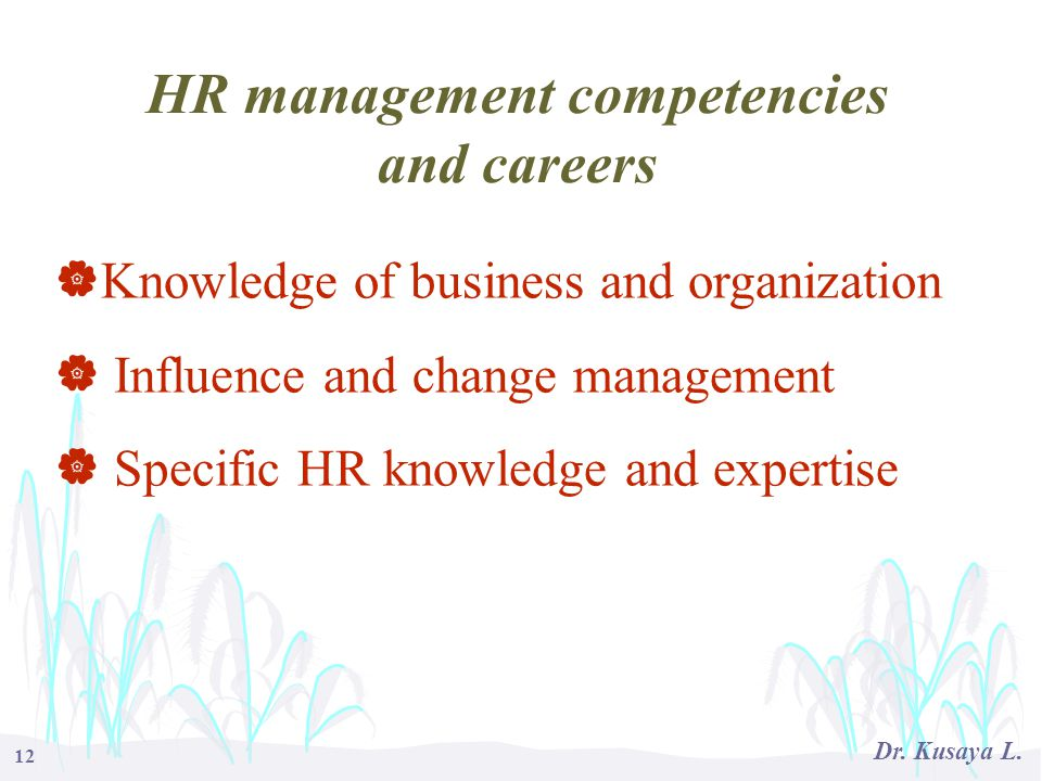 HR management competencies and careers