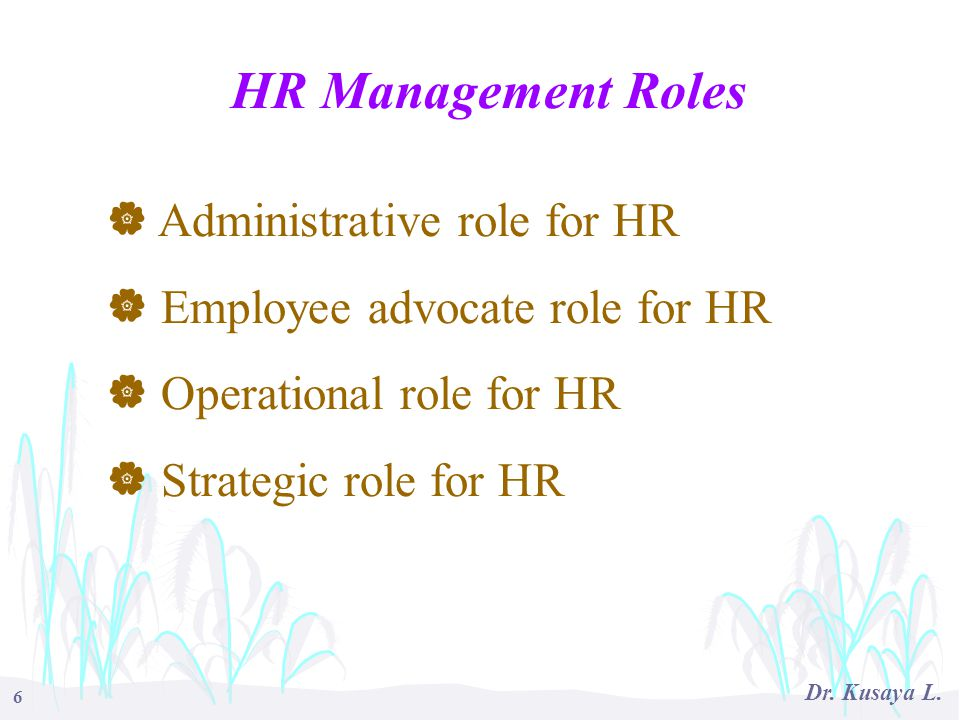 HR Management Roles Administrative role for HR