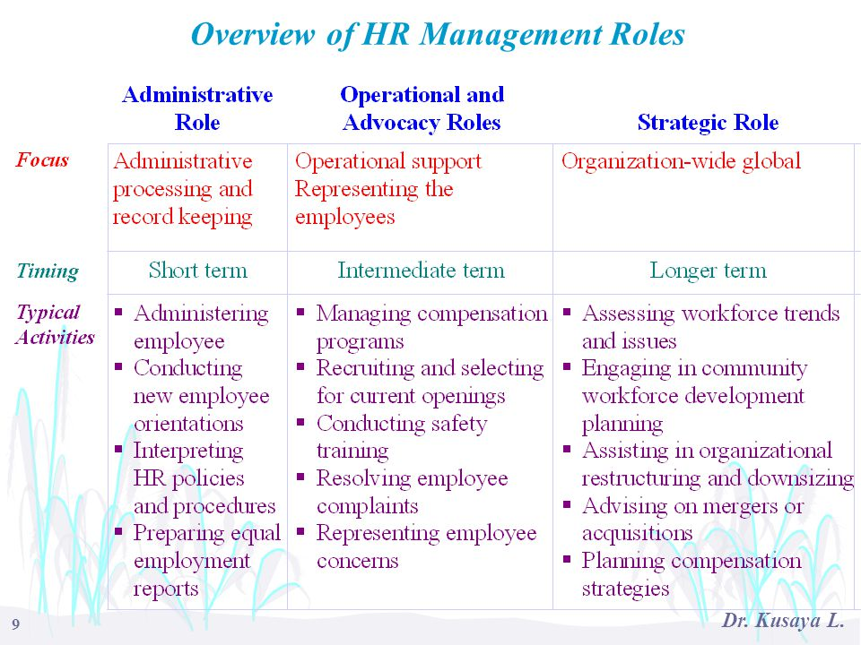 Overview of HR Management Roles