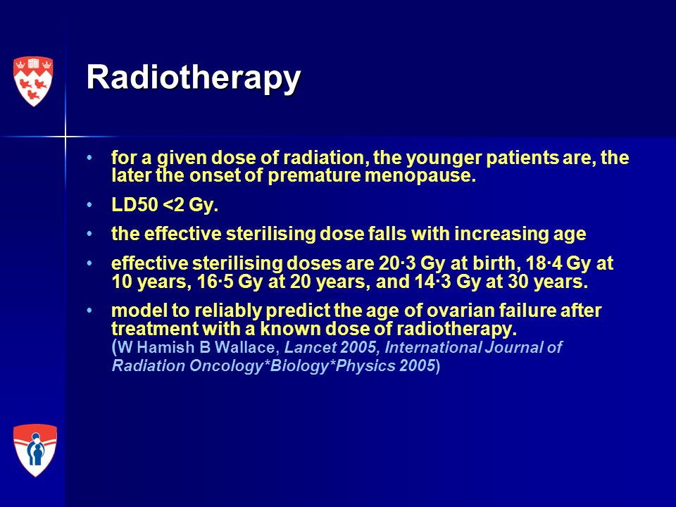 Radiotherapy for a given dose of radiation, the younger patients are, the later the onset of premature menopause.
