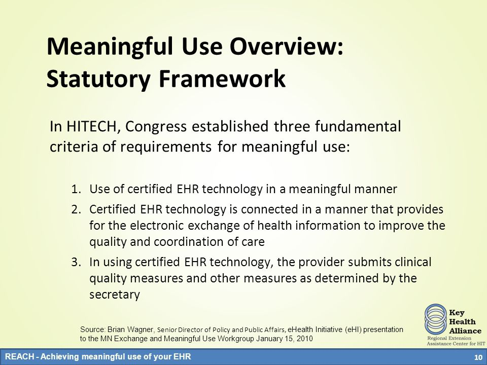 Meaningful Use Overview: Statutory Framework