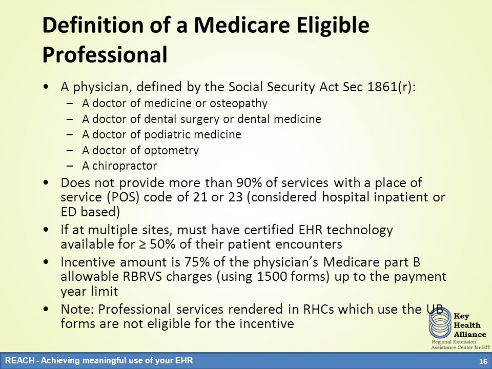 Definition of a Medicare Eligible Professional