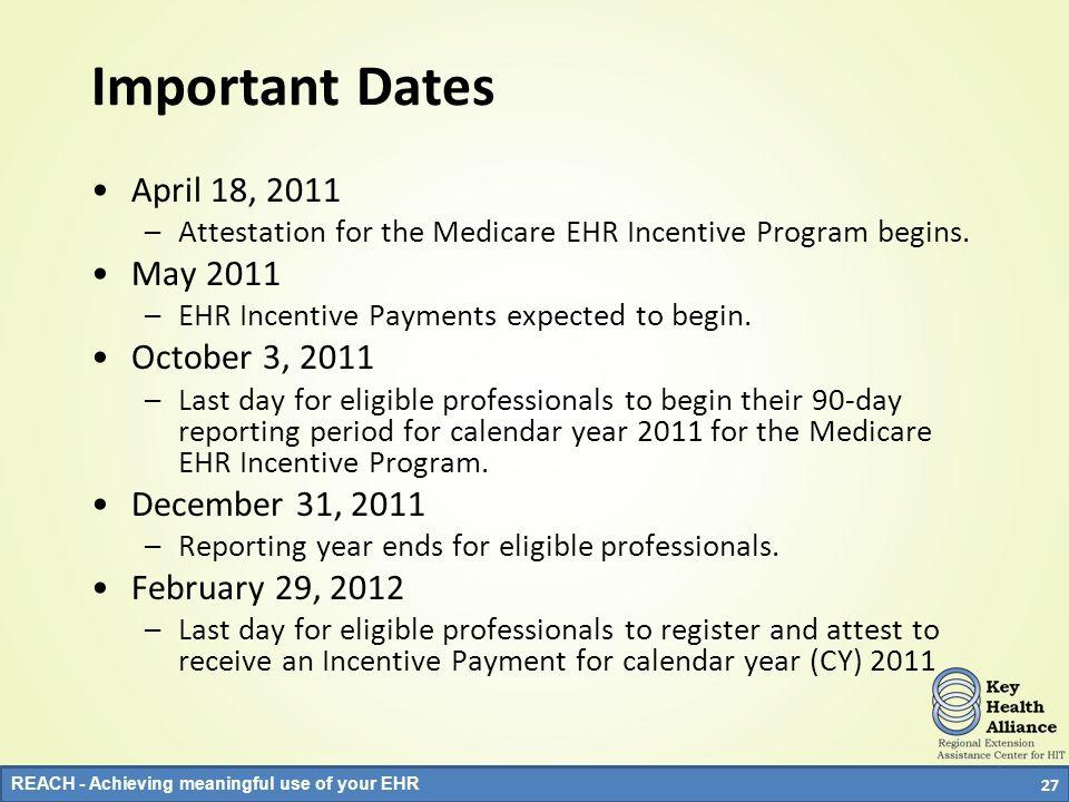 Important Dates April 18, 2011 May 2011 October 3, 2011