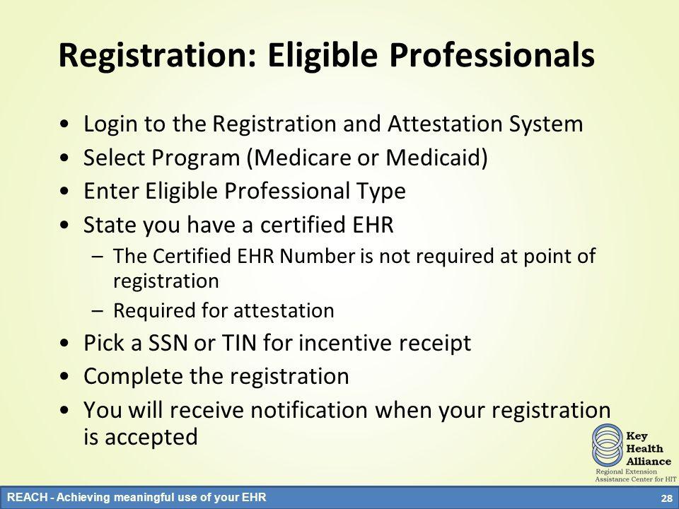 Registration: Eligible Professionals