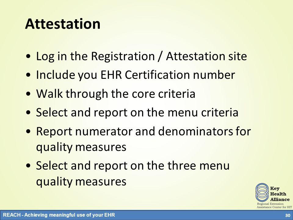 Attestation Log in the Registration / Attestation site
