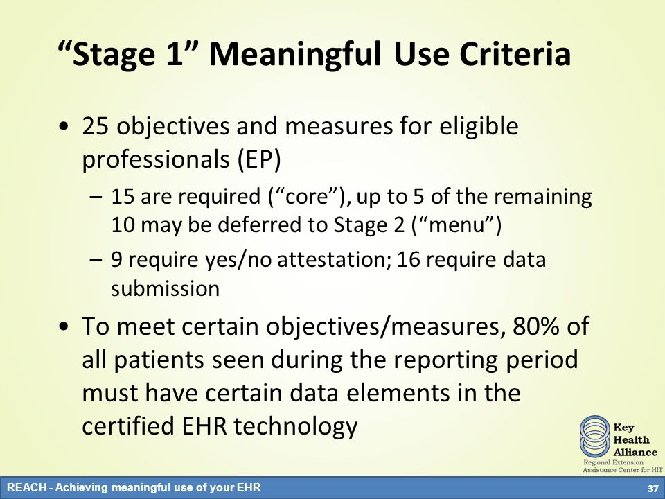 Stage 1 Meaningful Use Criteria