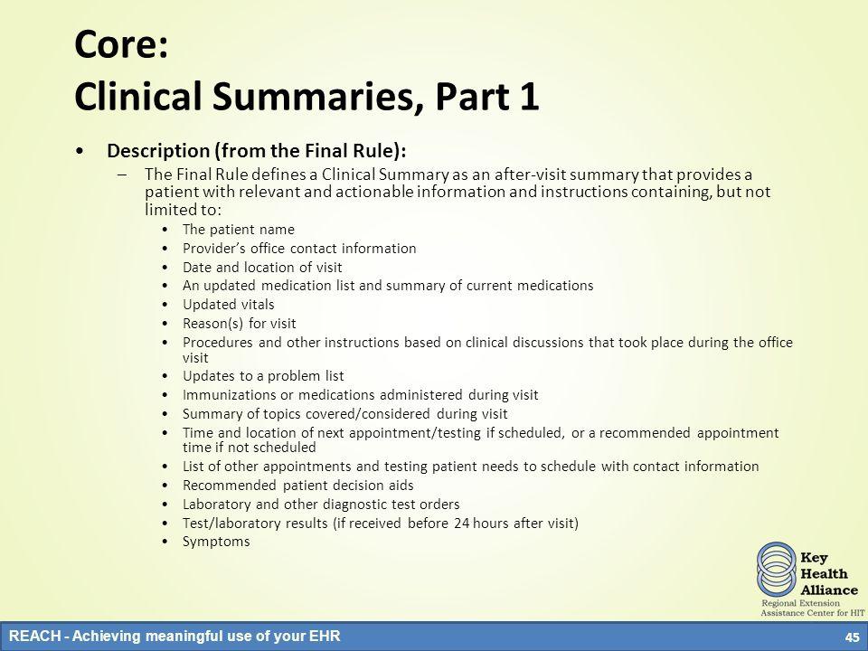 Core: Clinical Summaries, Part 1