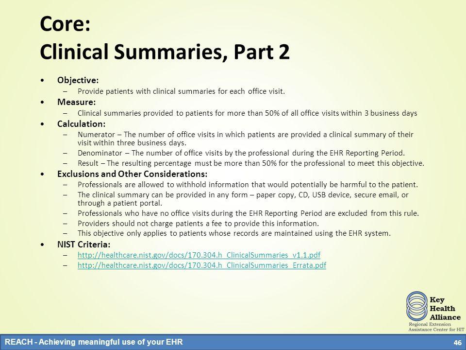 Core: Clinical Summaries, Part 2