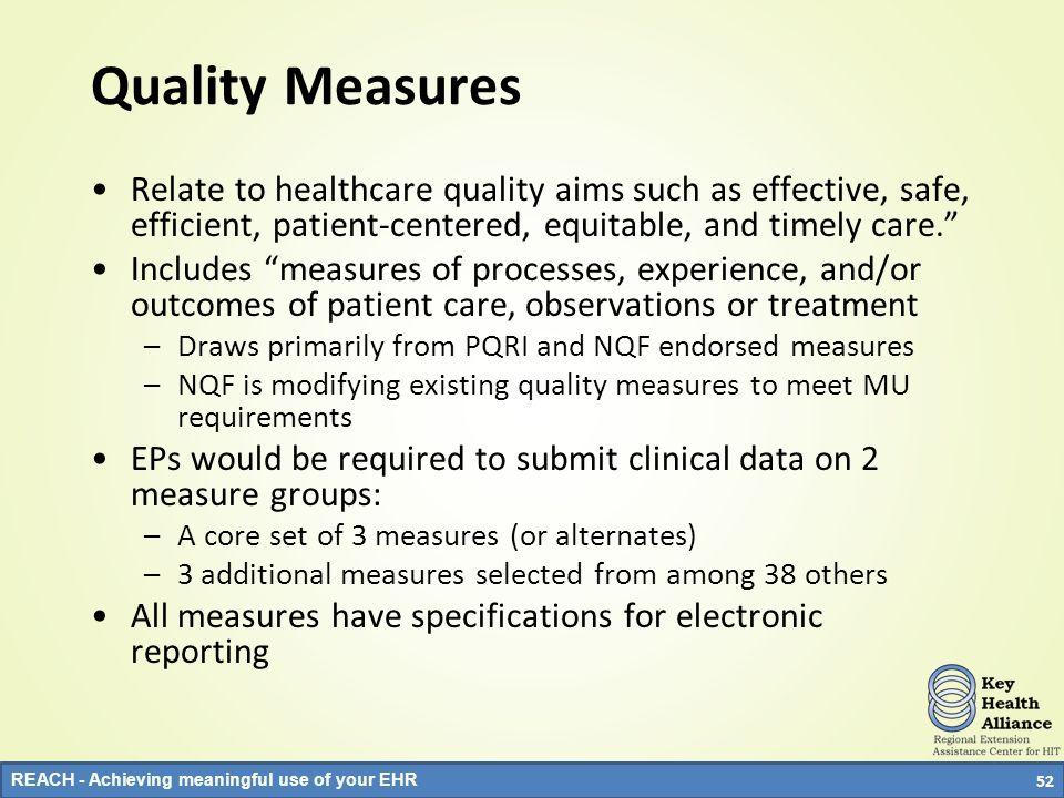 Quality Measures Relate to healthcare quality aims such as effective, safe, efficient, patient-centered, equitable, and timely care.