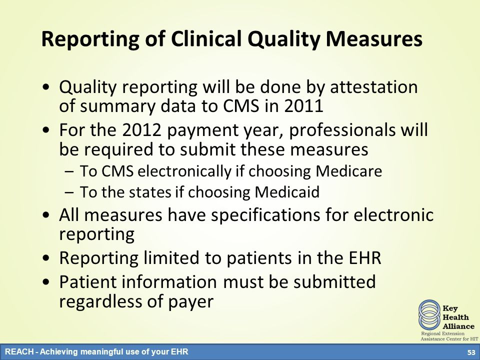 Reporting of Clinical Quality Measures