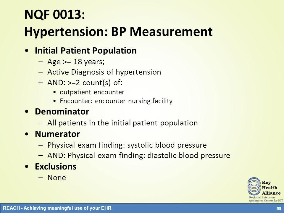 NQF 0013: Hypertension: BP Measurement