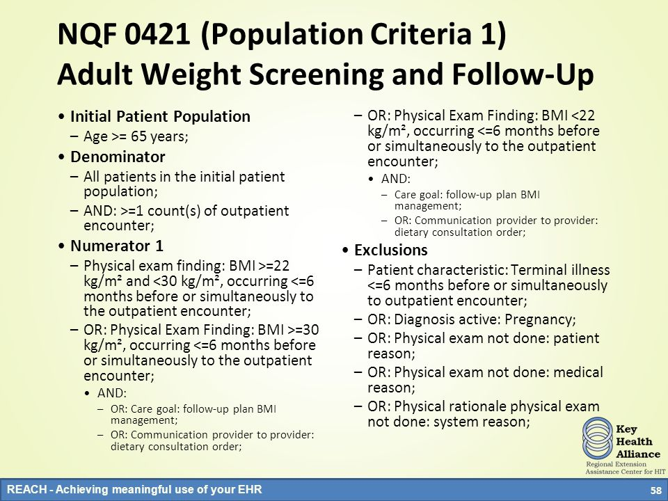 NQF 0421 (Population Criteria 1) Adult Weight Screening and Follow-Up