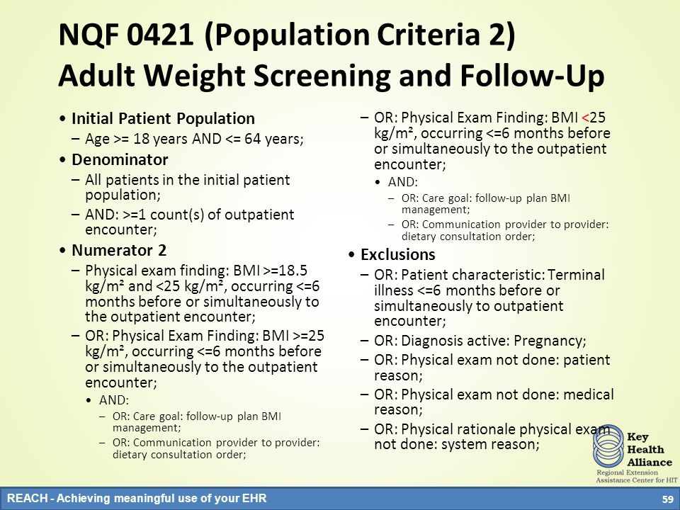NQF 0421 (Population Criteria 2) Adult Weight Screening and Follow-Up