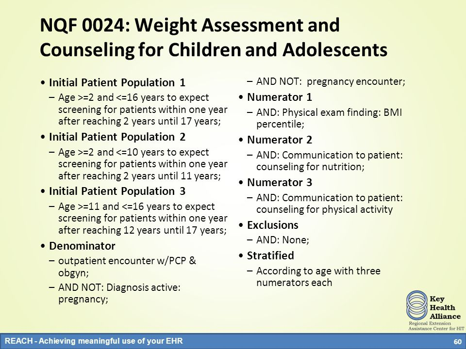 NQF 0024: Weight Assessment and Counseling for Children and Adolescents