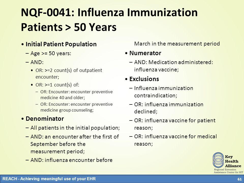 NQF-0041: Influenza Immunization Patients > 50 Years