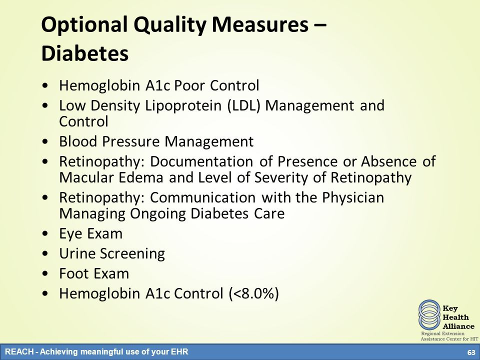 Optional Quality Measures – Diabetes