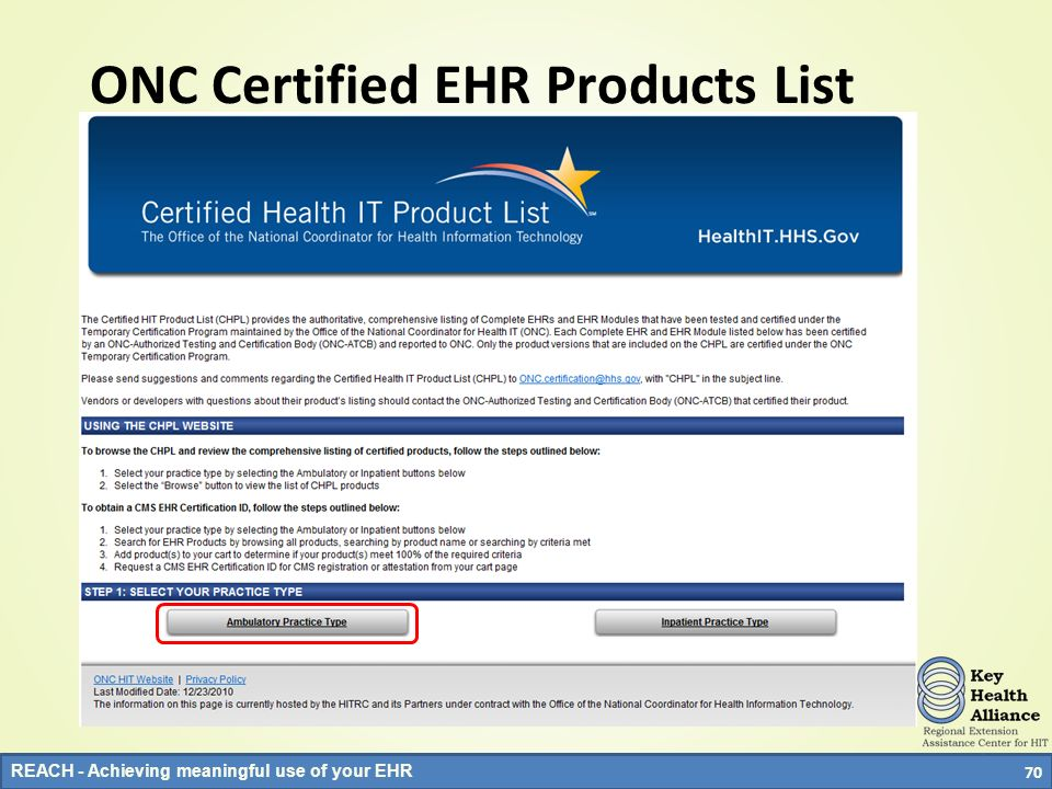ONC Certified EHR Products List