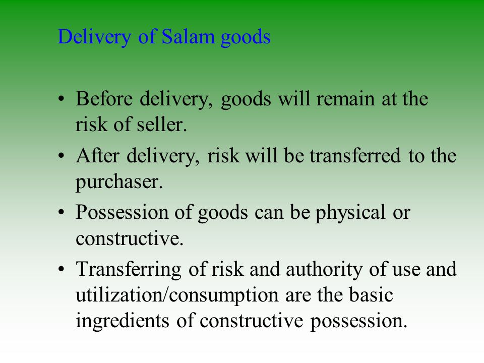 Delivery of Salam goods