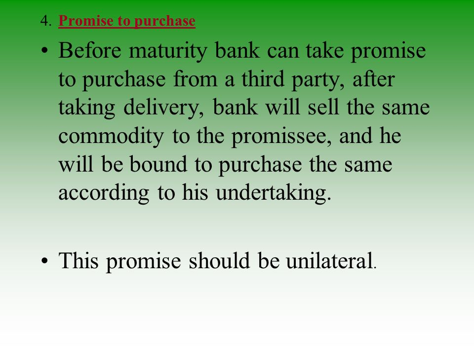 This promise should be unilateral.