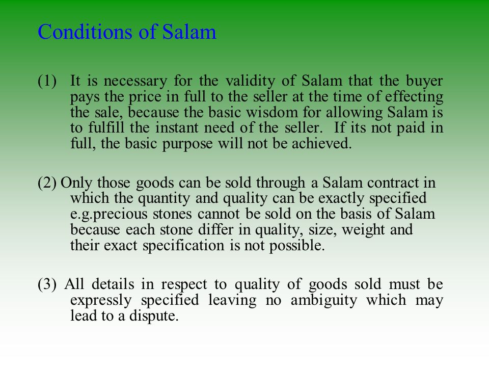 Conditions of Salam