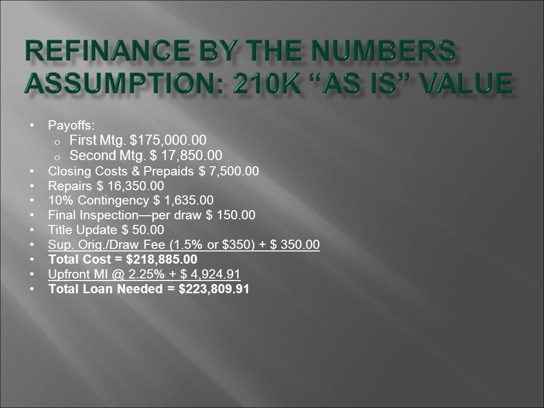 First Mtg. $175,000.00 Second Mtg. $ 17,850.00 Payoffs: