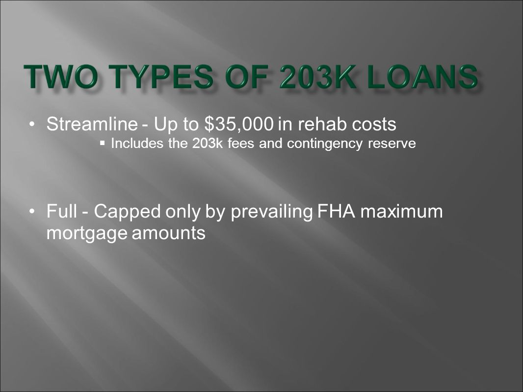 Streamline - Up to $35,000 in rehab costs