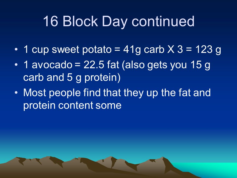 16 Block Day continued 1 cup sweet potato = 41g carb X 3 = 123 g