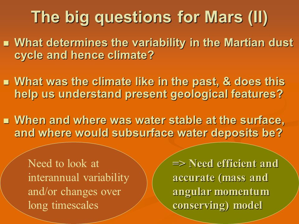 The big questions for Mars (II)