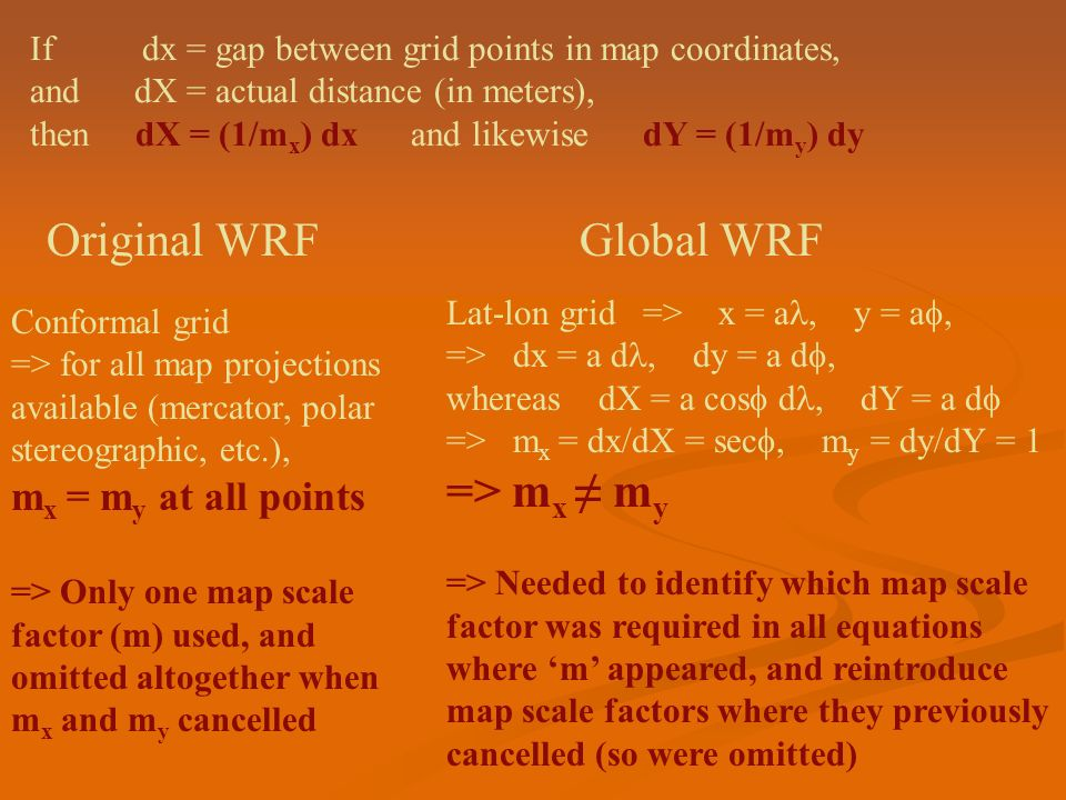 Original WRF Global WRF => mx ≠ my mx = my at all points