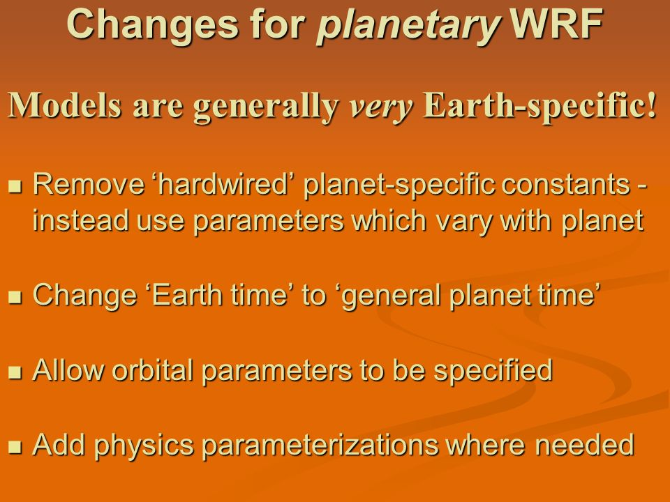 Changes for planetary WRF
