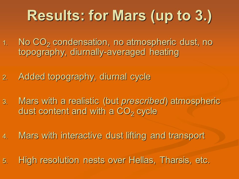 Results: for Mars (up to 3.)