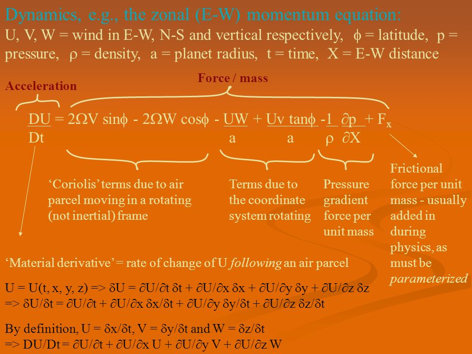Dynamics, e.g., the zonal (E-W) momentum equation: