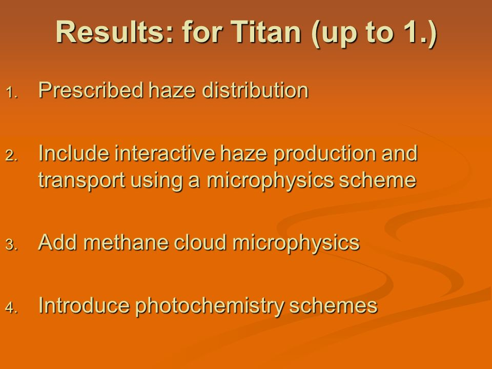 Results: for Titan (up to 1.)