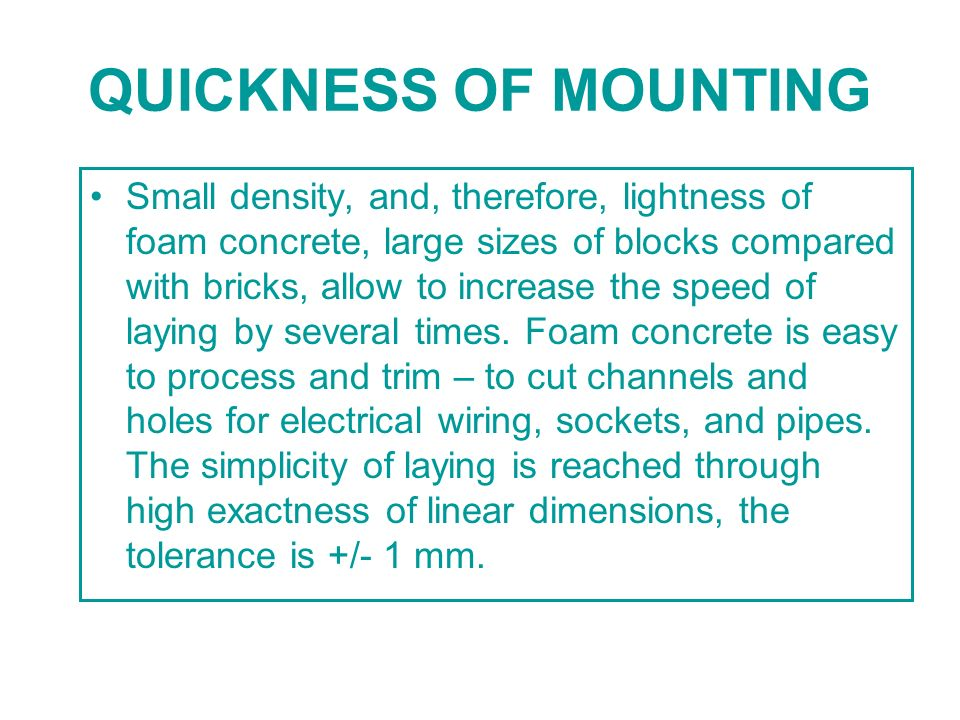 QUICKNESS OF MOUNTING