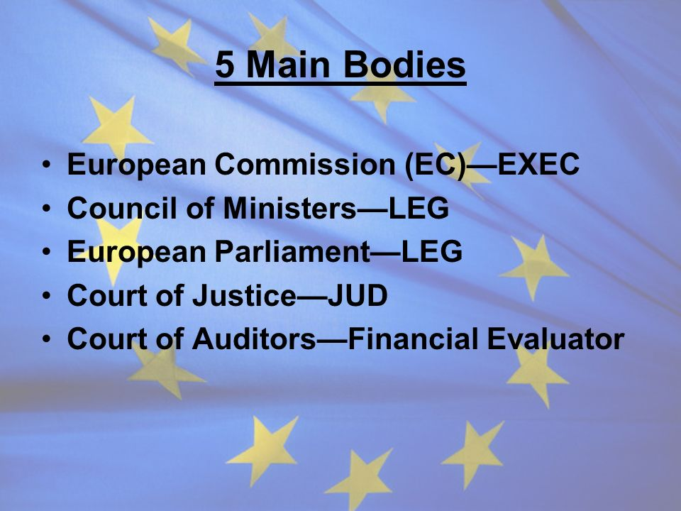 5 Main Bodies European Commission (EC)—EXEC Council of Ministers—LEG
