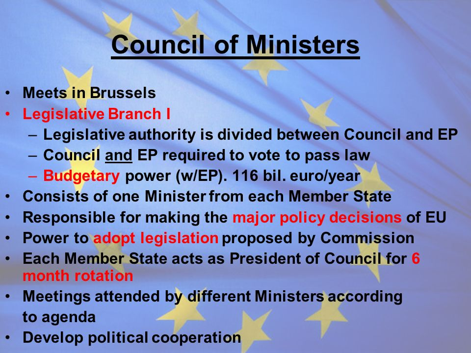 Council of Ministers Meets in Brussels Legislative Branch I