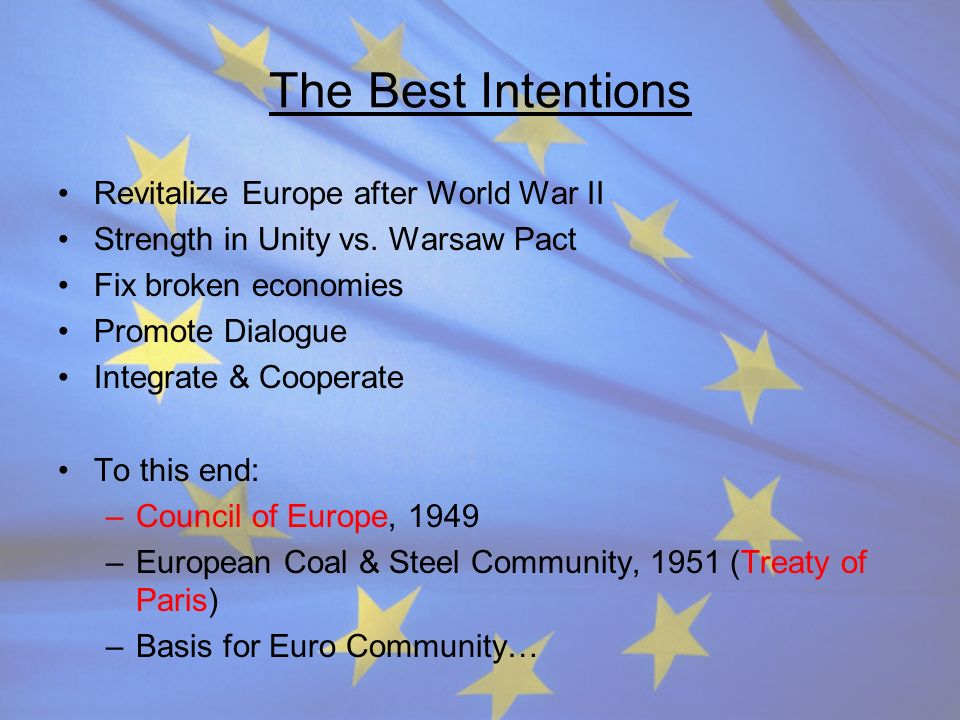The Best Intentions Revitalize Europe after World War II