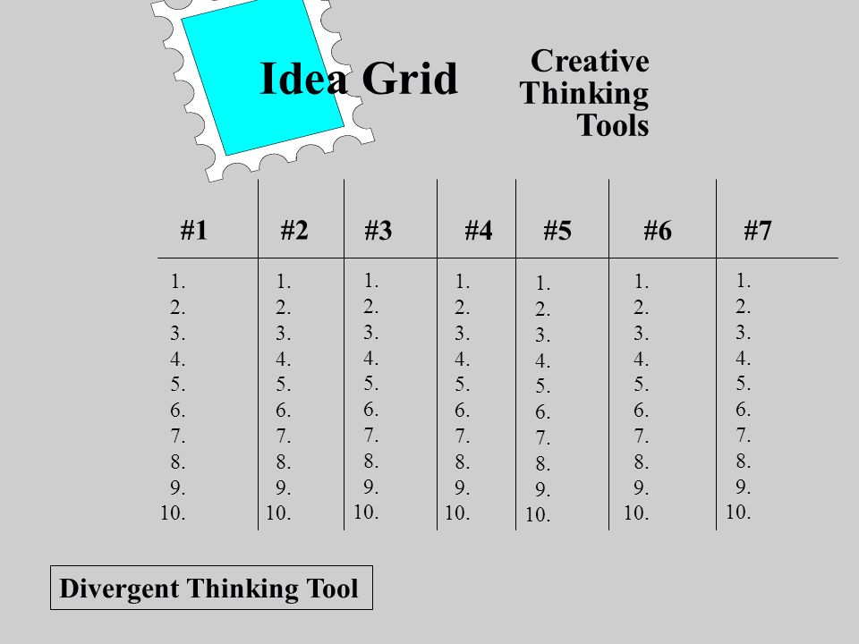 Idea Grid Creative Thinking Tools #1 #2 #3 #4 #5 #6 #7