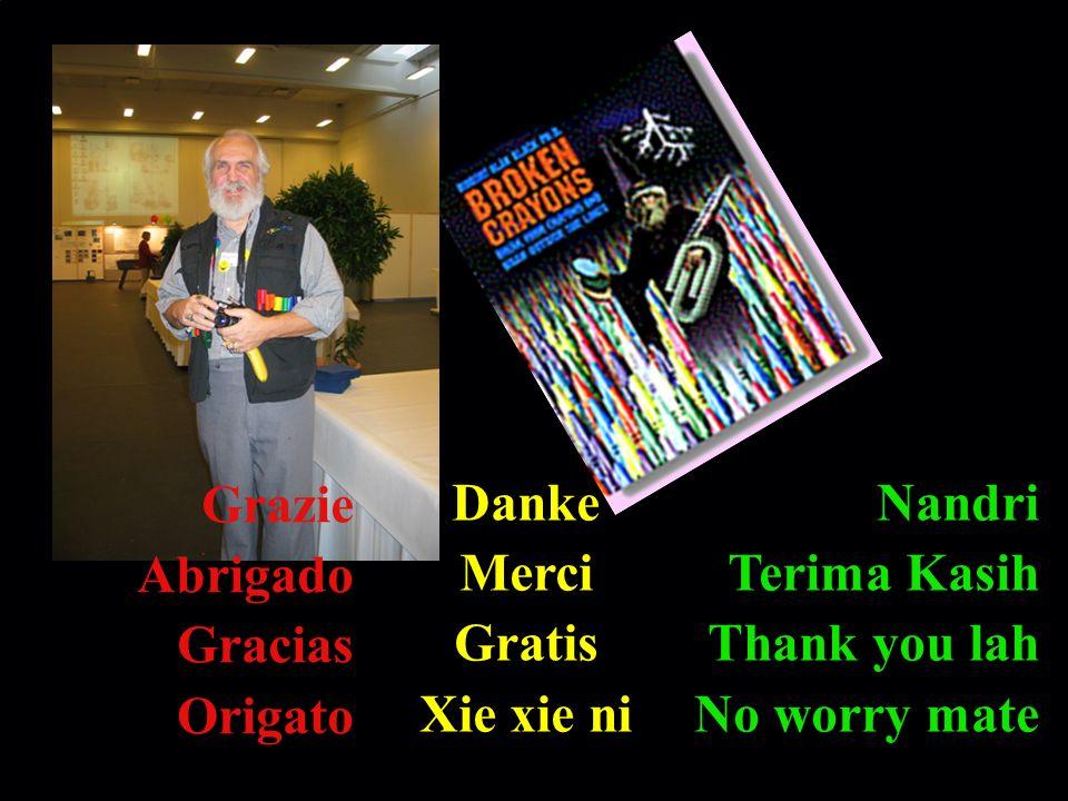 GrazieAbrigado. Gracias. Origato. Danke. Merci. Gratis. Xie xie ni. Nandri. Terima Kasih. Thank you lah.