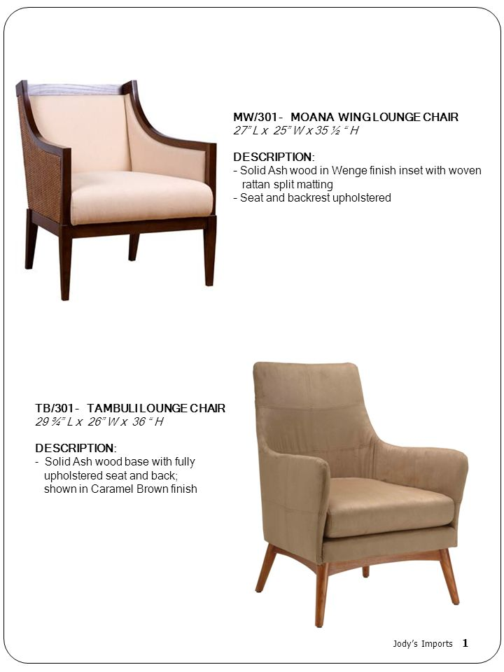 MW/301 - MOANA WING LOUNGE CHAIR 27 L x 25 W x 35 ½ H DESCRIPTION: